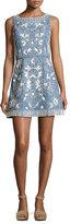 Alice + Olivia Lindsey Embroidered A-Line Denim Mini Dress, Indigo/White