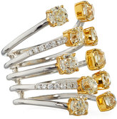 Diana M. Jewels 18k Two-Tone Multi-Row Ring w/ Yellow & White Diamonds, 4.26tcw