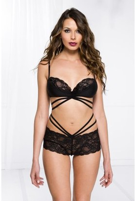 Music Legs Strappy mid section with attached lace bra top and panty 55009-black