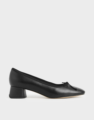 Charles & Keith Bow Block Heel Court Shoes