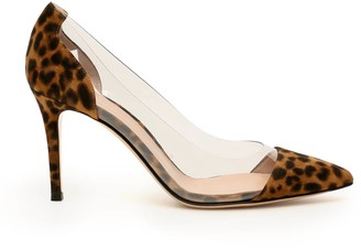 Gianvito Rossi Animal Print Plexi Pumps 85