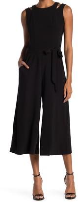 Gabby Skye Sleeveless Tie Waist Crop Jumpsuit