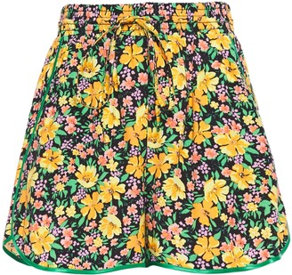 Maje Satin-trimmed Floral-print Woven Shorts