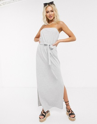 ASOS DESIGN bandeau maxi dress with belt in gray marl