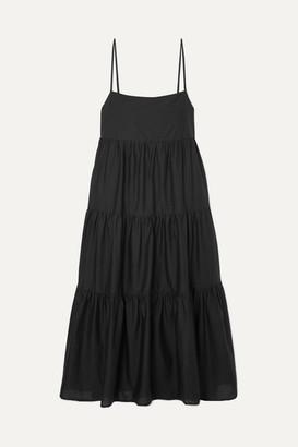 Matteau Tiered Cotton-voile Midi Dress - Black