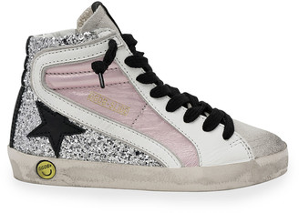 Golden Goose Slide Laminated Leather & Glitter High-Top Sneakers, Baby/Toddler