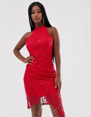 Lipsy lace midi wrap dress in fuschia-Pink
