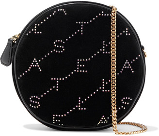 Stella McCartney Monogram Mini Crystal-embellished Velvet Shoulder Bag