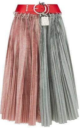 Chopova Lowena - Belted Gingham-taffeta Skirt - Multi