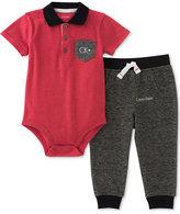 Calvin Klein 2-Pc. Polo Bodysuit & Pants Set, Baby Boys (0-24 months)