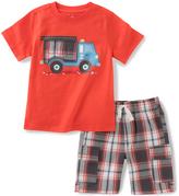Kids Headquarters Red Truck Tee & Plaid Shorts - Boys