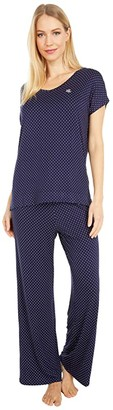 Lauren Ralph Lauren Rayon Spandex Jersey V-Neck Dolman Sleeve Ankle Pants Pajama Set (Navy Dot) Women's Pajama Sets