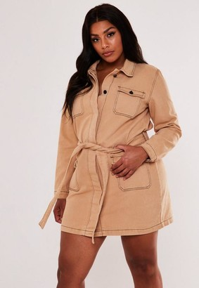 Missguided Size Tan Denim Utility Belted Shirt Dress