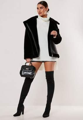 Missguided Petite Black Faux Fur Sleeve Oversized Aviator Jacket