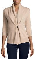 Neiman Marcus 3/4-Sleeve Cashmere & Lurex® Half-Sleeve Buckle Cardigan