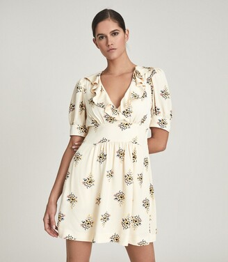 Reiss Olive - Floral Printed Mini Dress in Ivory