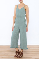 Moon River Linen Fray Hem Jumpsuit