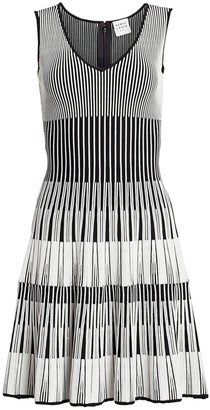 Herve Leger Lurex Stripe Fit-&-Flare Dress