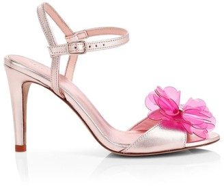 Kate Spade Giulia Flower-Embellished Metallic Leather Sandals