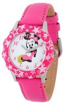 Disney Girls' Minnie Mouse Stainless Steel Glitz Case and Bezel Watch - Pink