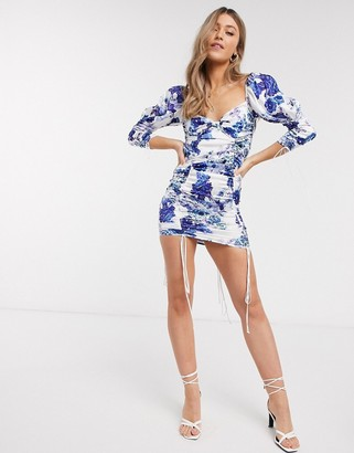 For Love & Lemons Hyacinth ruched floral bodycon mini dress in navy floral