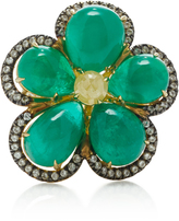 Nina Runsdorf 18K Gold Emerald and Diamond Flower Ring