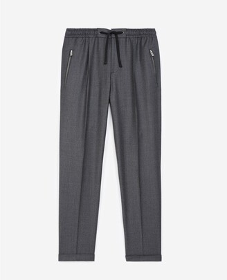 The Kooples Patterned dark grey wool trousers