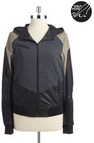 Blank NYC Faux Leather and Knit Bomber Jacket