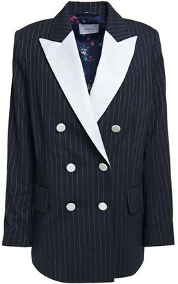 Racil Casablanca Double-breasted Pinstriped Stretch-wool Blazer