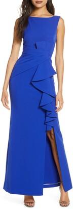 Eliza J Pleat Waist Evening Gown