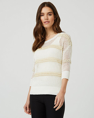 Le Château Metallic Knit Open-Stitch Crew Neck Sweater