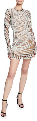 Naeem Khan Long-Sleeve Palm-Leaf Illusion Dress
