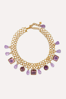 Loulou De La Falaise Loulou de la Falaise - Gold-plated, Amethyst And Glass Choker - Purple