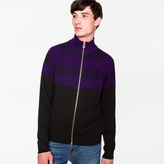 Paul Smith Men's Black And Mauve Stripe Merino Wool Funnel-Neck Zip-Front Cardigan