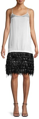 Dries Van Noten Feather Trim Spaghetti Strap Shift Dress