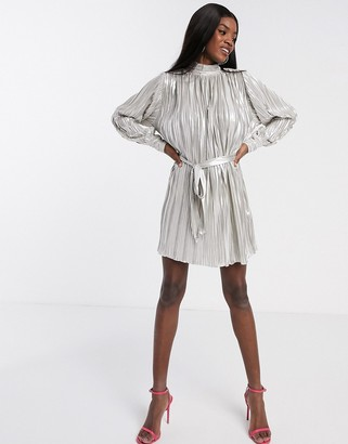 Forever U metallic pleated mini dress in champagne