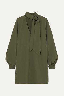Ganni Pussy-bow Crepe Dress - Army green