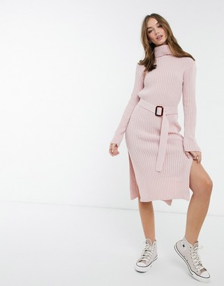 In The Style x Billie Faiers roll neck knitted dress with belt in pink
