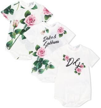 Dolce & Gabbana Kids Set Of Three Rose Print Bodies