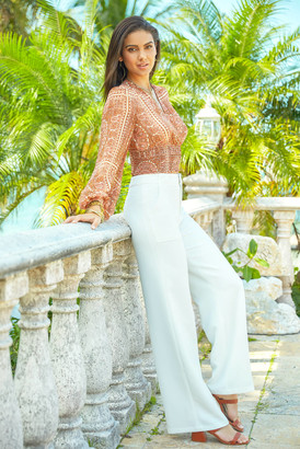 Lucy Paris White Diana Wide Leg Trouser White XS