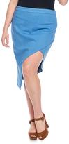 Denim Blue Asymmetrical Skirt - Plus