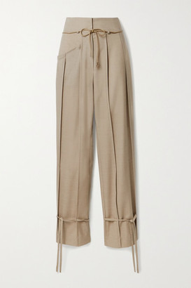ANDERSSON BELL Katina Tie-detailed Pleated Wool-blend Tapered Pants - Beige
