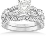 Allurez (0.69ct) 14k White Gold Diamond AccentedSplit Shank Vintage Style Bridal Set Setting