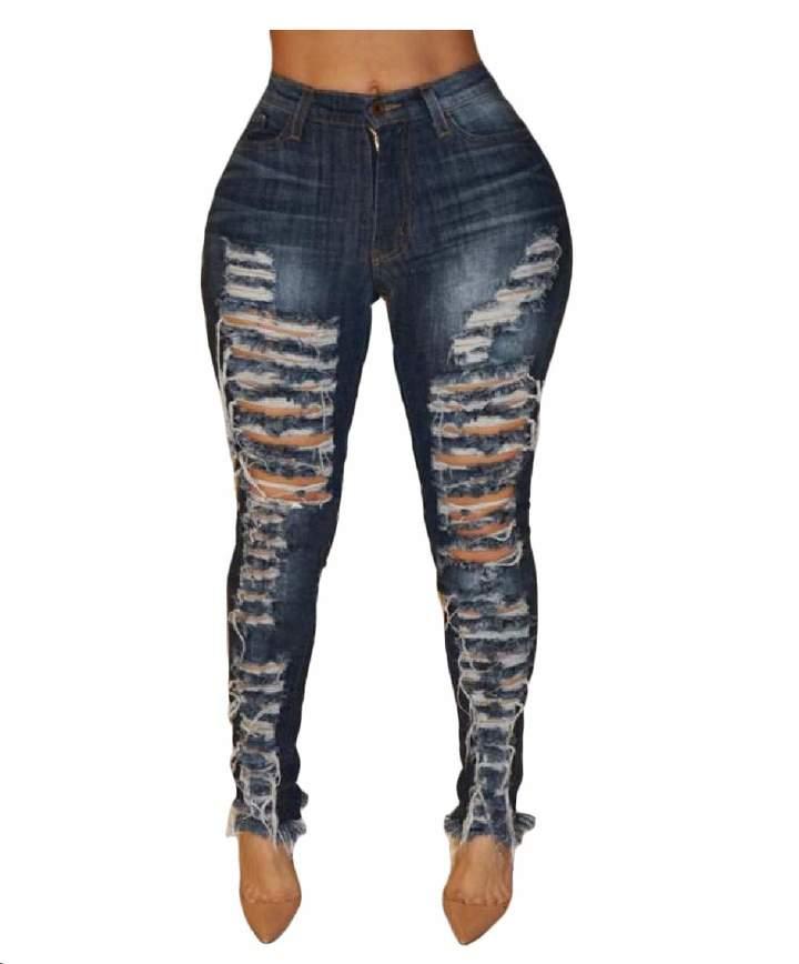 9a017e4d047d9 Macondoo-CA Womens Outdoor High Waist Ripped Trousers Jean Denim Pants L