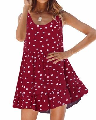 Zanzea Women's Summer Floral Printed Sleeveless Beach Sundress Mini Dress Denim Blue S