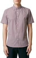 Topman Slim Fit Short Sleeve Gingham Shirt