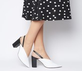 Office Moore Pointed Sling Block Heels White Leather