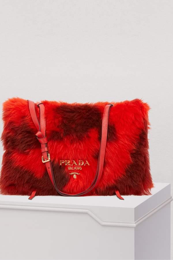 Prada Shearling shoulder bag