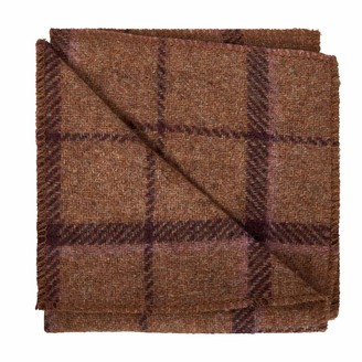 N'damus London Regent Tan & Purple Herringbone Wool Pocket Square with Leather Label