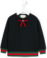 Gucci Kids - bow detail sweatshirt - kids - Cotton/Spandex/Elastane/Viscose/glass - 4 yrs
